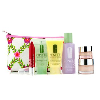 CliniqueKit de Viagem: Lo��o 2 60ml + D.D.M.L 30ml + Sabonete 30ml + Moisture Surge 15ml + All About Eyes 7ml + Chubby Stick 3ml + Necessaire 6pcs+1bag