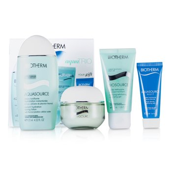 BiothermSet Aquasource: Aquasource Gel 50ml + Biosource Gel Limpiador 50ml + Aquasource Loci�n Tonificante 125ml + Gelatina Hidratante 4pcs