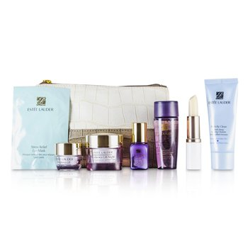 Est�e LauderTravel Set: Perfectly Clean 30ml + Optimizer 30ml + Night Cream 15ml + Serum 7ml + Eye Cream 5ml + Eye Mask + Lip Conditioner + Bag 7pcs+1bag