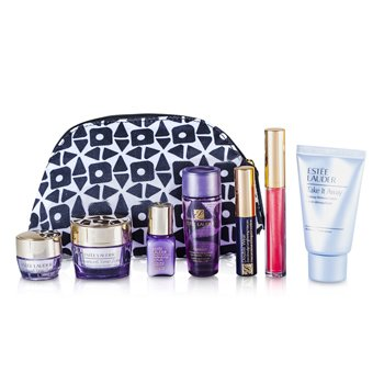Estee LauderTravel Set: Makeup Remover 30ml + Optimizer 30ml + Day Cream 15ml + Serum 7ml + Eye Cream 5ml + Mascara #01 + Lip Gloss #30 + Bag 7pcs+1bag