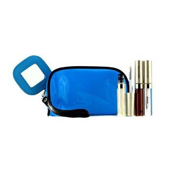 KaneboSet de Brillo de Labios Con Bolso Cosm�tico Az�l (3x Mode Brillo, 1x Bolso Cosm�tico) 3pcs+1bag