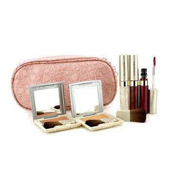 Kanebo Cheek & Lip Makeup Set With Pink Cosmetic Bag (2xCheek Color  3xMode Gloss  1xBrush  1xCosmetic Bag) 6pcs+1bag