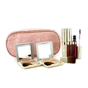 Kanebo Set de Maquillaje de Mejillas & Labios con Bolsa Cosm�tica Rosa (2x Colores de Mejillas, 3x Brillos de Labios, 1x Brocha, 1x Bolsa Cosm�tica)  6pcs+1bag