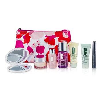 CliniqueTravel Set: Liquid Soap + MakeUp Remover + Moisture Lotion #3 + DDMG + Moisture Surge + Mascara + Mirror + Bag 7pcs+1bag