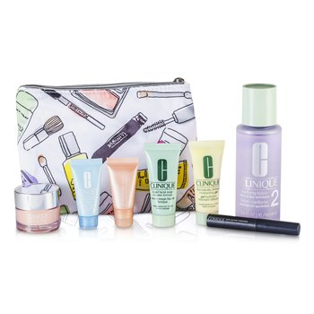 Travel Set: Liquid Soap + Clarifying Lotion #2 + DDMG + Moisture Surge + Turnaround Concentrate + All About Eyes Serum + Mascara + Bag