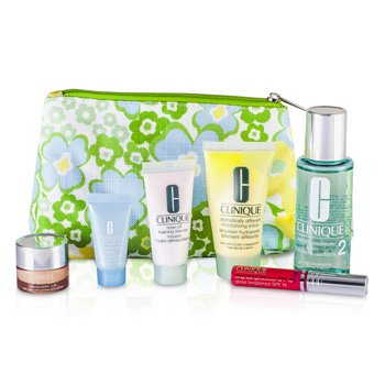 CliniqueTravel Set: Foaming Cleanser + Moisture Lotion #2 + DDML + Turnaround Concentrate + All About Eyes + Lip Gloss #14 + Bag 6pcs+1bag