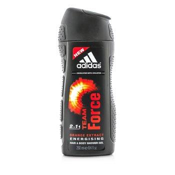 AdidasTeam Force 2 en 1 Gel de Ducha Energizante para Cuerpo y Cabello con Extracto de Naranja 250ml/8.4oz