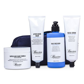 Baxter Of CaliforniaShaver's Skincare Kit: Daily Face Wash 300ml +Shave Formula 240ml + Facial Scrub 120ml + After Shave Balm 120ml + Bag 4pcs+1bag