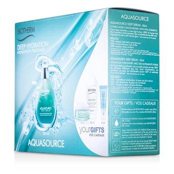 BiothermSet Aquasource Hidrataci�n Profunda: Suero Profundo 50ml + Gel 15ml + Leche Corporal 10ml + Agua Micelar 30ml + Perfecci�n de Ojos 4ml 5pcs