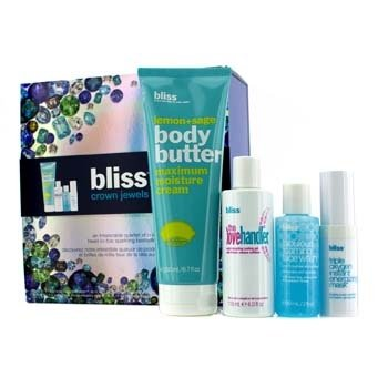Bliss Crown Jewels Set: Body Butter 200ml + Love Handler 118ml + Triple Oxygen Instant Energizing Mask 15ml + Face Wash 60ml 4pcs