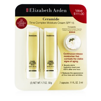 Elizabeth Arden Set Ceramide: 2x Time Complex Crema Humectante SPF 15 50g + Advanced Time Complex C�psulas 3ml  3pcs