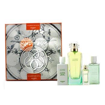 HermesUn Jardin Sur Le Nil Coffret: Eau De Toilette Spray 100ml/3.3oz + Eau De Toilette Miniature 7.5ml/0.25oz + Body Lotion 40ml/1.35oz + Bath & Shower Gel 40ml/1.35oz 4pcs