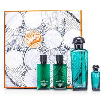 Hermes D'Orange Verte Coffret: Eau De Cologne Spray 100ml/3.3oz + Miniature 7.5ml/0.25oz + Bady Lotion 40ml/1.35oz + All Over Shampoo 40ml/1.35oz  4pcs