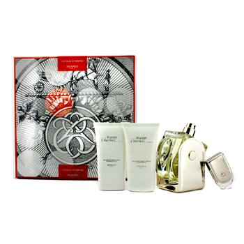 HermesVoyage D'Hermes Coffret: Eau De Toilette Refillable Spray 100ml/3.3oz + Eau De Toilette Miniature 5ml/0.16oz + Body Lotion 30ml/1oz + All Over Shower Gel 30ml/1oz 4pcs