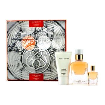 HermesJour D'Hermes Absolu Coffret: Eau De Parfum Spray Recargable 50ml/1.6oz + Eau De Parfum Miniature 7.5ml/0.25oz + Loci�n Corporal 30ml/1oz 3pcs