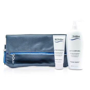 BiothermBody Set: Anti-Drying Body Milk 400ml + Cleansing Shower Milk 75ml + Bag 2pcs+1bag