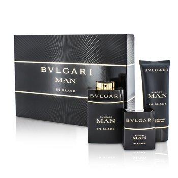 BvlgariIn Black Coffret: Eau De Parfum Spray 100ml/3.4oz + Eau De Parfum Spray 30ml/1oz + After Shave Balm 100ml/3.4oz 3pcs