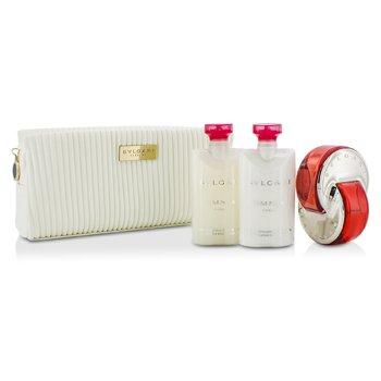 BvlgariOmnia Coral Coffret: Eau De Toilette Spray 65ml/2.2oz + Loci�n Corporal 75ml/2.5oz + Exfoliante Corporal 75ml/2.5oz + Estuche 3pcs+pouch