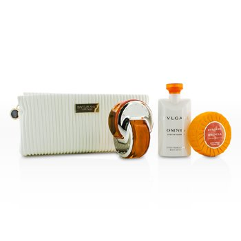 BvlgariOmnia Indian Garnet Coffret: Eau De Toilette Spray 65ml/2.2oz + Loci�n Corporal 75ml/2.5oz + Jab�n 75g/2.5oz + Estuche 3pcs+pouch