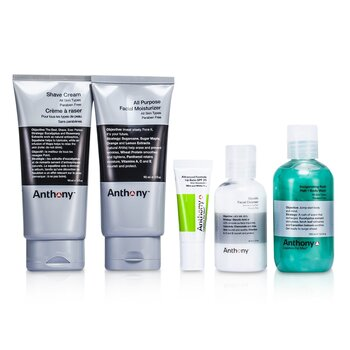 Anthony Logistica para Hombre Kit viajero esencial: Limpiadora + Hidratante + B�lsamo para Labios + Crema para Afeitar + Enjuague para Cabello y Cuerpo  5pcs
