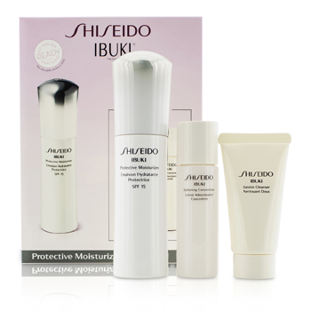 ShiseidoIBUKI set: 1x Protective Moisturizer SPF 15 75ml/2.5oz, 1x Gentle Cleanser 30ml/1oz, 1x Softening Concentrate 30ml/1oz 3pcs
