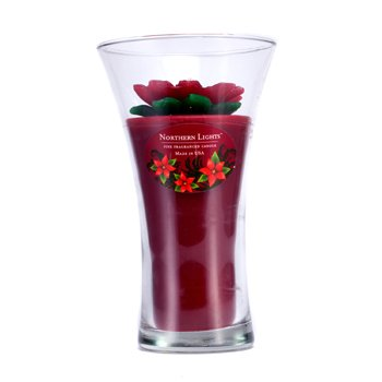 Northern Lights Candles Floral Vase Fine Fragranced Candle - Red Poinsetta with  home scent
