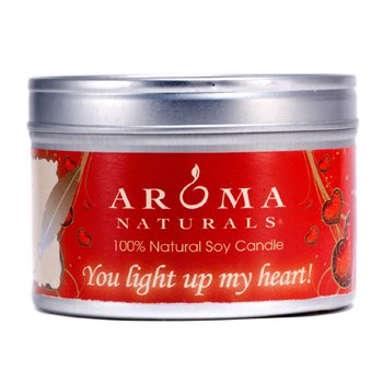 Aroma Naturals 100% Natural Soy Candle – You Light Up My Heart! 6.5oz