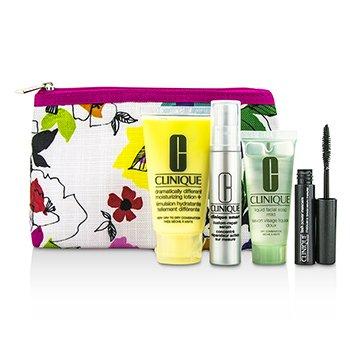 CliniqueTravel Set: DDML+ 30ml + Facial Soap Mild 15ml + Smart Serum 10ml + Mascara #01 2.5ml + Bag 4pcs+1bag