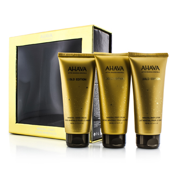 Ahava Mineral Stars Set: Mineral Body Lotion 100ml/3.4oz + Mineral Hand Cream 100ml/3.4oz + Mineral Foot Cream 100ml/3.4oz 3pcs