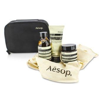 AesopSet Universo Acelerado: Limpiador 100ml + Crema Hidratante 60ml + Pasta Purificante Exfoliadora 75ml + Bolsa 3pcs+1bag