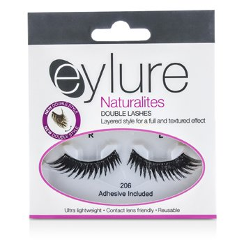 Eylure Naturalites False Lashes - 206 Double Lashes Black (Adhesive Included) 1pair