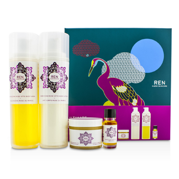 Ren Ultimate Moroccan Rose Experience: Body Wash 200ml + Body Lotion 200ml + Body Polish 75ml + Bath Oil 10ml 4pcs