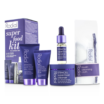 Rodial Stemcell Super-Food Kit: Cleanser 50ml + Day Cream 20ml + Glam Balm Multi 10ml + Facial Oil 10ml + Cleansing Cloth  5pcs