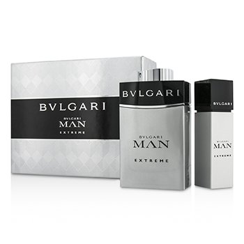 BvlgariMan Extreme Coffret: Eau De Toilette Spray 100ml/3.4oz + Eau De Toilette Travel Spray 15ml/0.5oz (Bo 2pcs