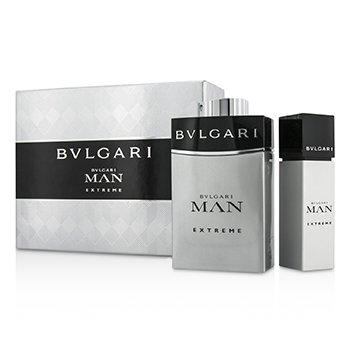 BvlgariMan Extreme Coffret: Eau De Toilette Spray 100ml/3.4oz + Eau De Toilette Travel Spray 15ml/0.5oz (Bo 2pcs