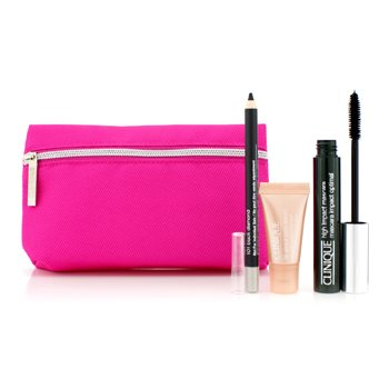 Clinique High Impact Favourites Set: High Impact Mascara + Cream Shaper For Eyes + All About Eyes Serum + Bag 4pcs