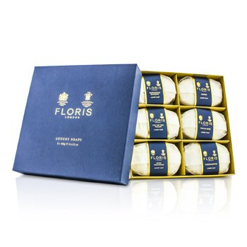 FlorisLuxury Soap Collection: (Edwardian Bouquet, Fleur, Lily of the Valley, Night Scented Jasmine, Seringa, White Rose) 6x100g/3.5oz