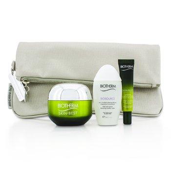 BiothermSkin Best Set: Skin Best Cream SPF 15 50ml + Serum In Cream 10ml + Biosource Micellar Water 30ml + Bag (Box Slightly Damaged) 3pcs+1bag