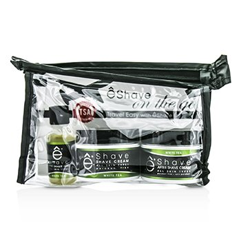 EShave On The Go Travel Kit (White Tea): Shave Cream 30g + After Shave Soother 30g + Pre Shave Oil 15g +TSA Bag  3pcs+1bag