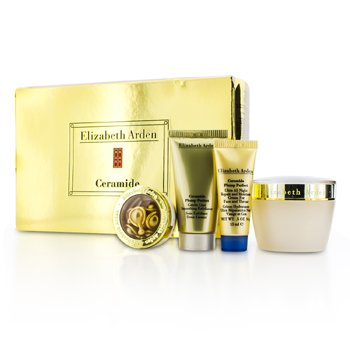 Elizabeth ArdenCeramide Plump Perfect Set: Moisture Cream 50ml + Exfoliator 30ml + Night Cream 15ml + Capsules 3.2ml (Box Slightly Damaged) 4pcs