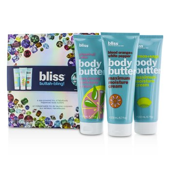 Bliss Buttah Bling Holiday Set: Lemon + Sage + Blood Orange + White Pepper + Grapefruit + Aloe 3pcs