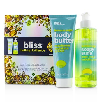 BlissBathing Brilliance Set: Lemon+Sage Soapy Suds 473.2ml/16oz + Body Butter 200ml/6.7oz 2pcs