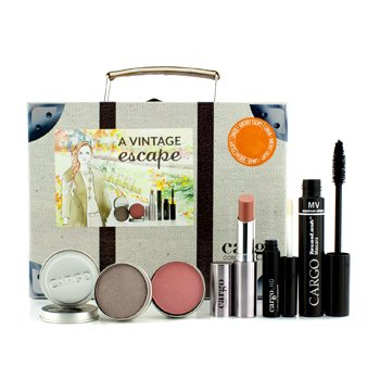 CargoA Vintage Escape Suitcase Kit: 1xLip Color, 1xEyeshadow, 1xBlush, 1xLip Primer, 1xMascara 5pcs