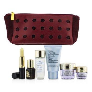 Estee Lauder Travel Set: Perfectly Clean 30ml + Micro Essence 30ml + Advanced Time Zone 15ml + Eye Cream 5ml + ANR II 7ml + Lip Conditioner + Bag  6pcs+1bag