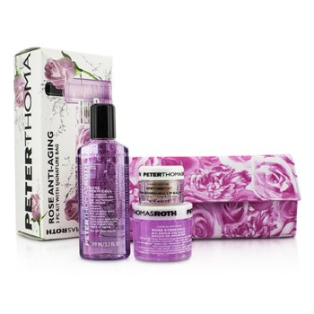 Peter Thomas RothRose Anti-Aging 3pc Kit: Cleansing Gel 100ml/3.3oz + Gel Mask 50ml/1.7oz + Lip Balm 11g/0.4oz 3pcs+1bag