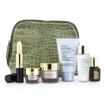 Estee LauderTravel Set: Perfectly Clean 30ml + Micro Essence 30ml + Resilience Lift Creme 15ml + Eye Cream 5ml + ANR II 7ml + Lip Conditioner + Bag 6pcs+1bag