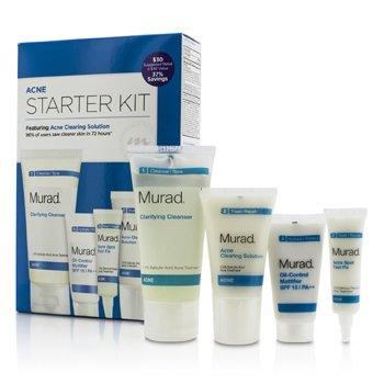 MuradAcne Starter Kit: Cleanser 60ml + Clearing Solution 23ml + Oil Control SPF 15 18ml + Acne Fix 7.5ml 4pcs
