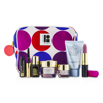 Estee Lauder Travel Set: Makeup Remover 30ml + Resilience Lift Creme 15ml+ Eye Creme 5ml + ANR II 7ml + Mascara 2.8ml + Lipstick #61 3.8g + Bag 6pcs+1bag
