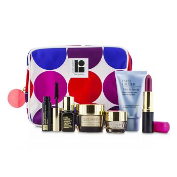 Estee Lauder Travel Set: Makeup Remover 30ml + Revitalizing Supreme Creme 15ml + Eye Balm 5ml + ANR II 7ml + Mascara 2.8ml + Lipstick #88 3.8g + Bag 6pcs+1bag