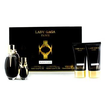 Lady Gaga Fame Coffret: Eau De Parfum Spray 100ml/3.4oz + Eau De Parfum Spray 15ml/0.5oz + Body Lotion 75ml/2.5oz + Shower Gel 75ml/2.5oz 4pcs